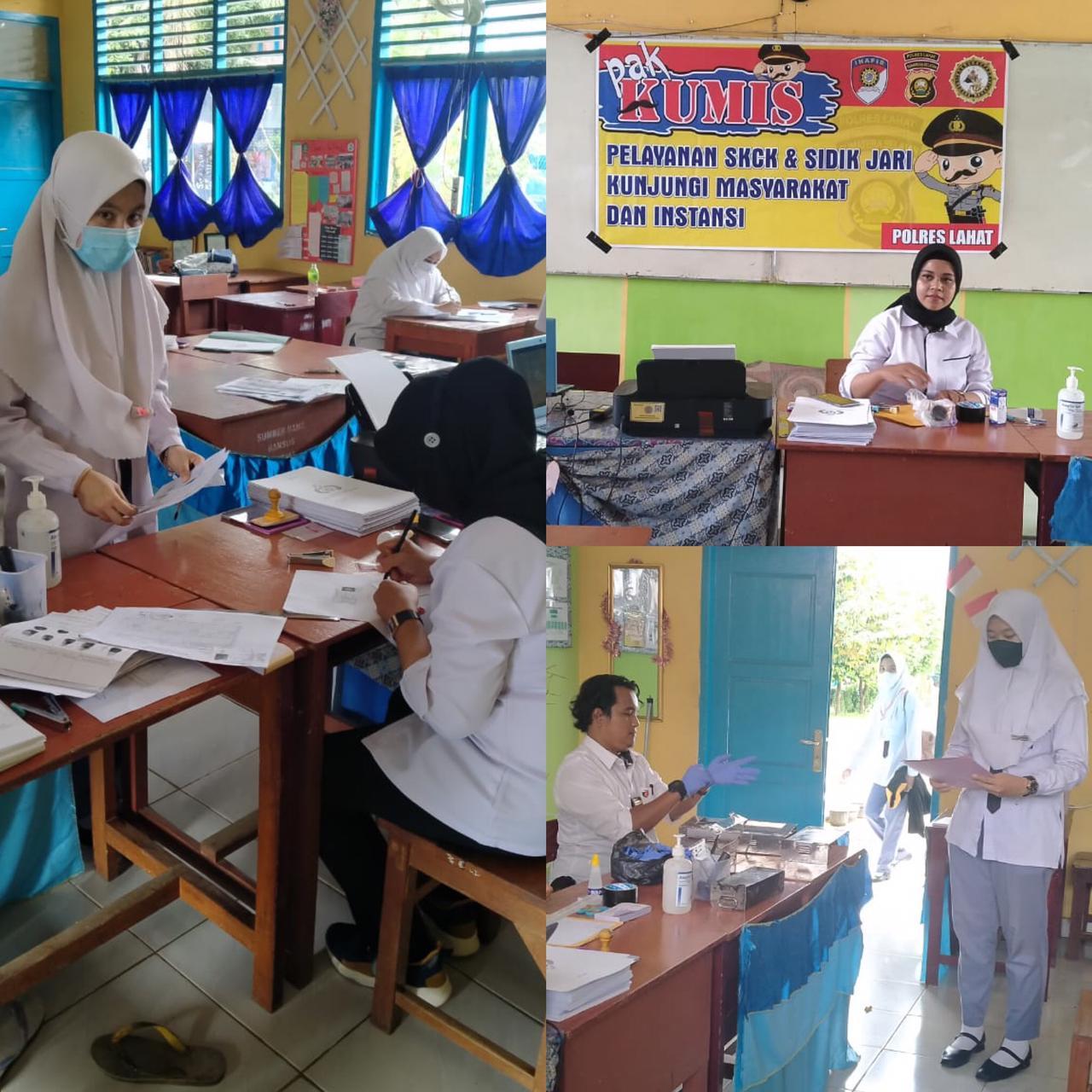 Polres Lahat Mengadakan Pelayanan SKCK dan Sidik Jari Kolektif di SMA Negeri 4 Lahat